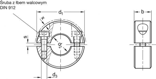 Pierścienie osadcze dwuczęściowe GN 707.2 - rysunek techniczny