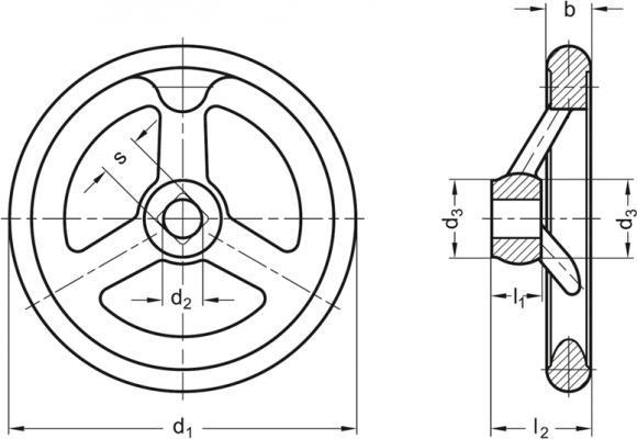 Koła ręczne wieloramienne DIN 950-A - rysunek techniczny