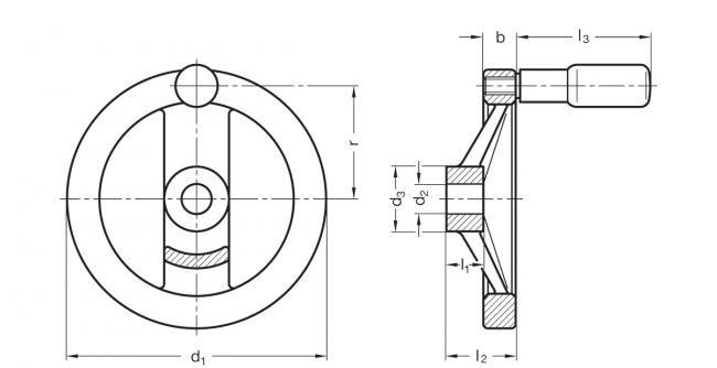 Koła ręczne dwuramienne z rękojeścią na obrzeżu GN 322-R - rysunek techniczny