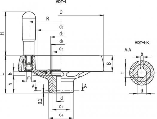 Koła ręczne pełne z rękojeścią na obrzeżu VDT+I - rysunek techniczny