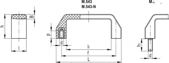 Uchwyty M.543 - rysunek techniczny