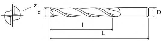 Frezy VHM walcowo-czołowe, długie - 2 ostrzowe PAFANA - rysunek techniczny
