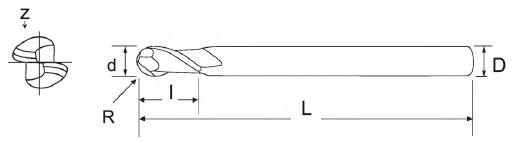 Frezy VHM z czołem kulistym 2-ostrzowe PAFANA - rysunek techniczny
