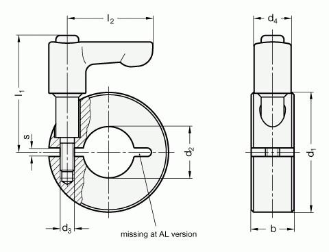 Pierścienie osadcze z dźwignia szybkiego montażu GN 706.4 - rysunek techniczny