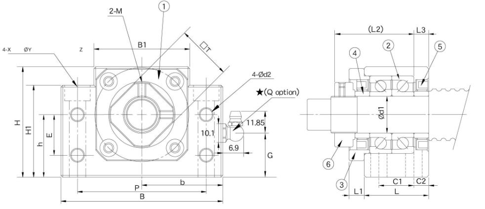 Typ BK - strona napędowa - rysunek techniczny