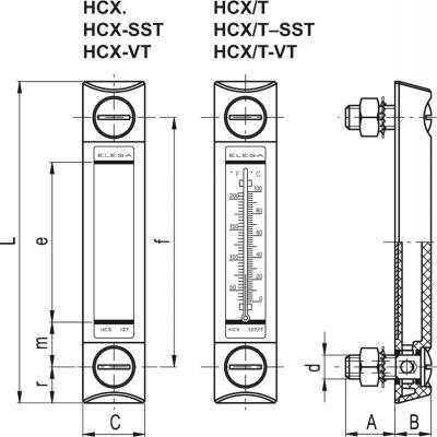 Kolumnowy wskaźnik poziomu HCX - rysunek techniczny