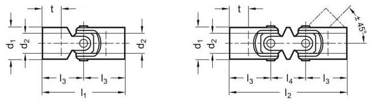 Przeguby GN 9080 - rysunek techniczny