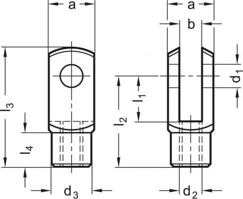 Przeguby widełkowe DIN 71752