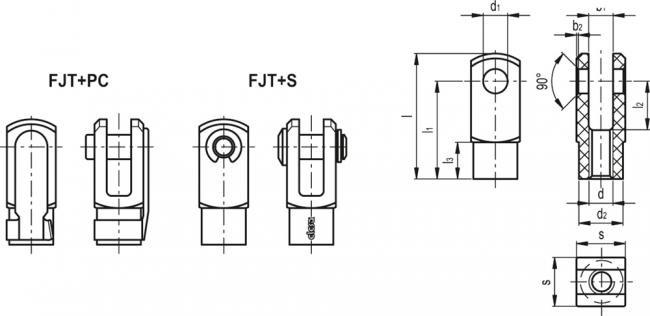 Przegub widełkowy FJT-M10X1,25+PC - rysunek techniczny