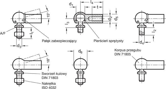 Przeguby kulowe DIN 71802 - rysunek techniczny