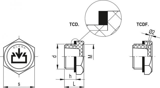 Korki TCD - rysunek techniczny