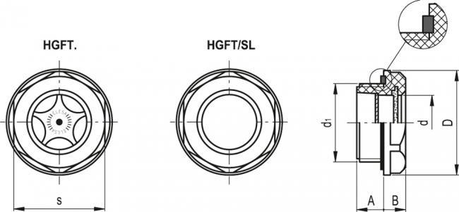 Wskaźnik poziomu HGFT - rysunek techniczny