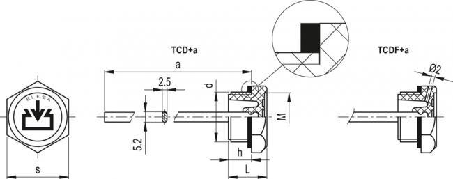 Korek TCD.10X1.5+A - rysunek techniczny