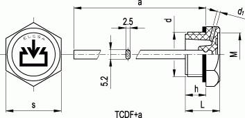 Korki TCDF+a - rysunek techniczny