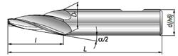 Frez stożkowy DIN 1889-EA 1:20 06 K-H HSS - rysunek techniczny