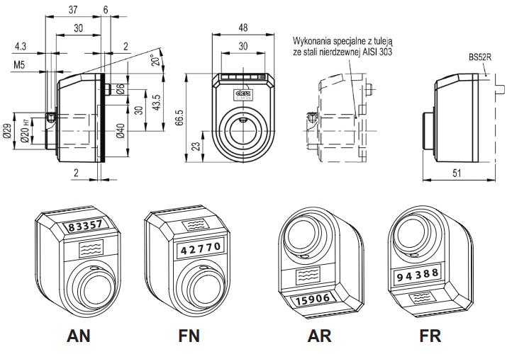 Wskaźniki położenia DD52R - rysunek techniczny