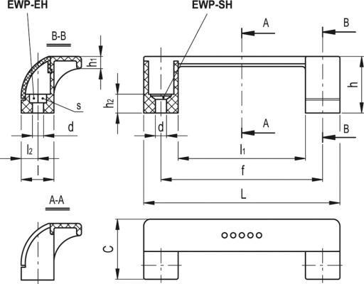 Uchwyty EGROSTYLE EWP - rysunek techniczny