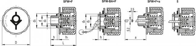 Korki SFW - rysunek techniczny