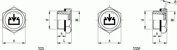 Korki TCDF calowe - rysunek techniczny