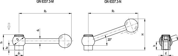Dźwignie przestawne GN 6337.3-B z gwintem wewnętrznym