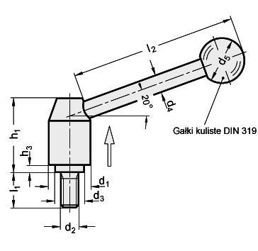 Dźwignie przestawne GN 212.5_1-S z trzpieniem gwintowanym
