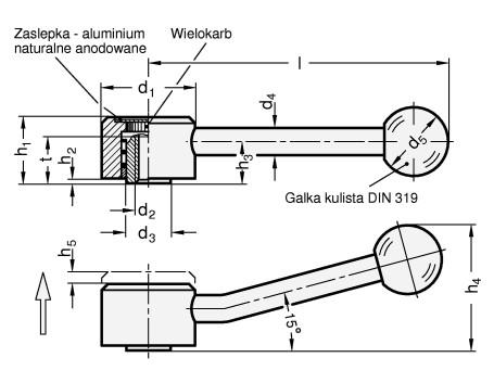 Dźwignie przestawne GN 125-B z gwintem wewnętrznym
