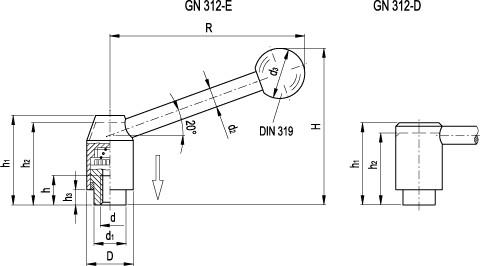 Dźwignie nastawne bezpieczne GN 312-B z gwintem wewnętrznym