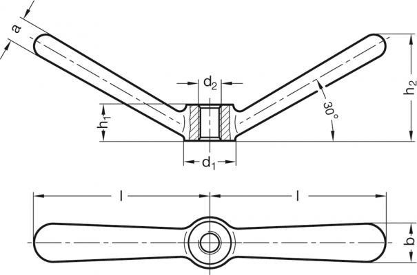 Dźwignie zaciskowe z dwoma ramionami GN 206.1-NI