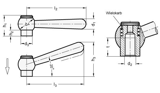 Dźwignie nastawne GN 99.2-B z gwintem wewnętrznym