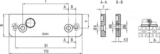 Płyty montażowe dla zawiasów CFSW. i CFMW. - do mocowania na profilach z rowkami