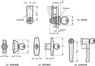 Zamki z kluczem GN 115-SC - rysunek techniczny