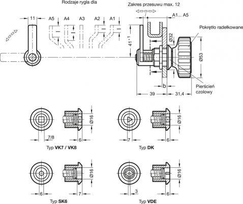 Zamki z funkcją domykania GN 116.1 - rysunek techniczny