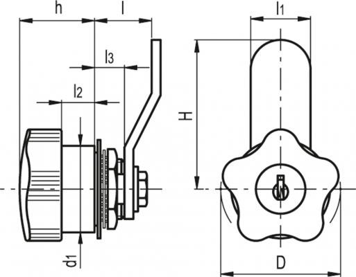 Zamki z pokrętłem VC.309 - rysunek techniczny