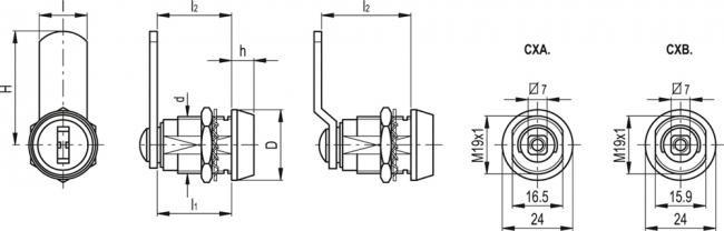 Zamki CX - rysunek techniczny
