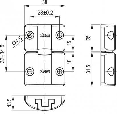 Zamki zatrzaskowe BMS - rysunek techniczny