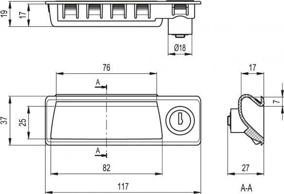 Uchwyty kasetowe z zamkiem PR-CH - rysunek techniczny