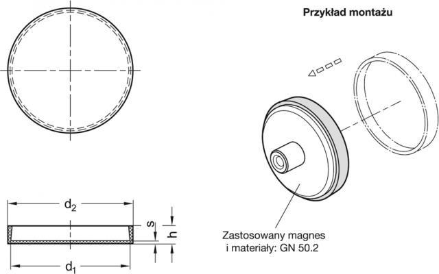 Dźwignie blokujące GN 702 - rysunek techniczny