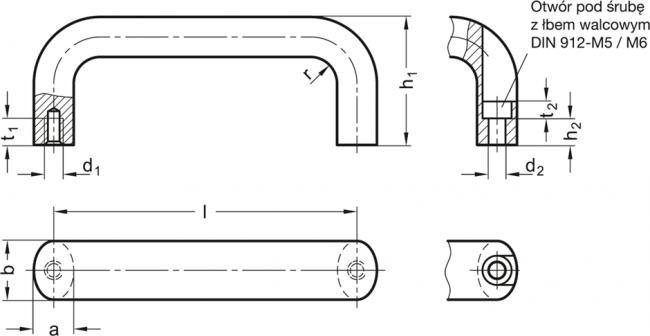 Uchwyty GN 565.5 - rysunek techniczny
