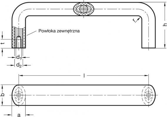 Uchwyty GN 564 - rysunek techniczny
