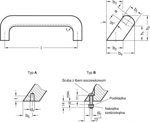 Uchwyty pochylone GN 565.2 - rysunek techniczny