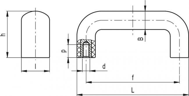 Uchwyty M.843 CLEAN - rysunek techniczny