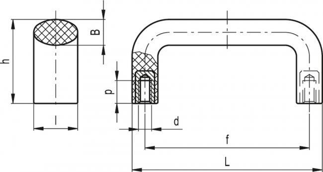 Uchwyty M.643 HT - rysunek techniczny