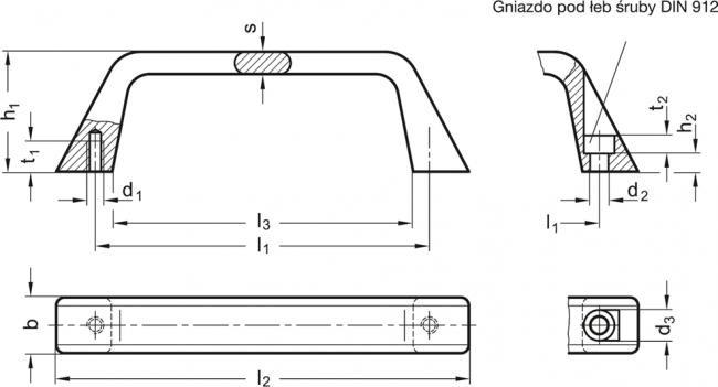 Uchwyty GN 728 - rysunek techniczny