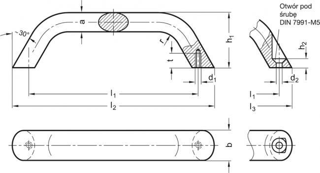 Uchwyty GN 565.3 - rysunek techniczny