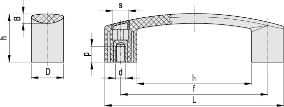 Uchwyt (mocowanie EBP.180 B-M8-C3 - rysunek techniczny