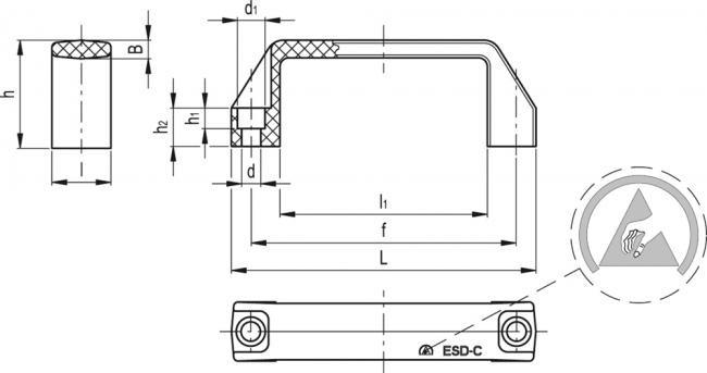 Uchwyty M.443 ESD - rysunek techniczny
