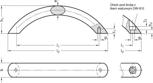 Uchwyty łukowe GN 565.4 - rysunek techniczny