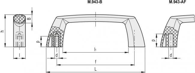 Uchwyt M.943-112-B-M5 - rysunek techniczny