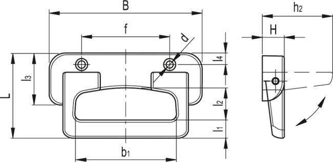 Uchwyty z chowaną rączką i sprężyną powrotną MPE - rysunek techniczny