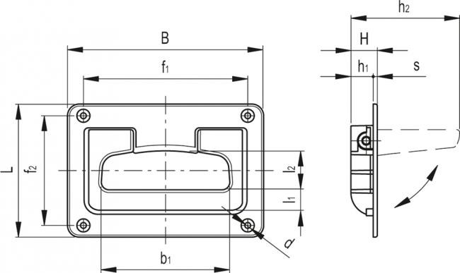 Uchwyty ze składaną rękojeścią i sprężyną powrotną MPR - rysunek techniczny